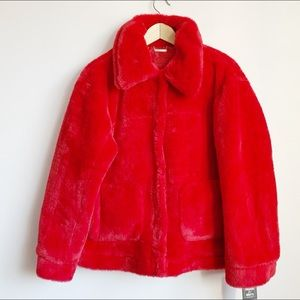 NWT plush faux fur red fuzzy coat size large